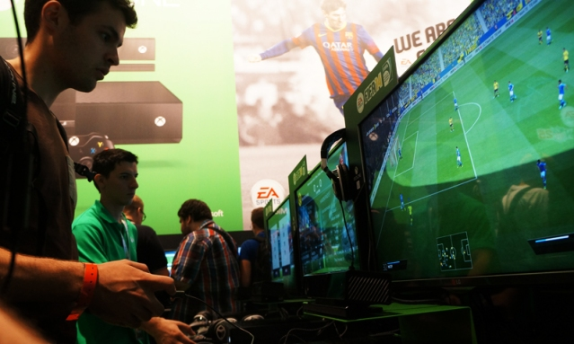 People playing FIFA