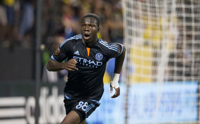 Aug 19, 2015; Columbus, OH, USA; New York City FC midfielder Kwadwo Poku (88) celebrates after scoring against Columbus Crew SC at MAPFRE Stadium. Mandatory Credit: Greg Bartram-USA TODAY Sports