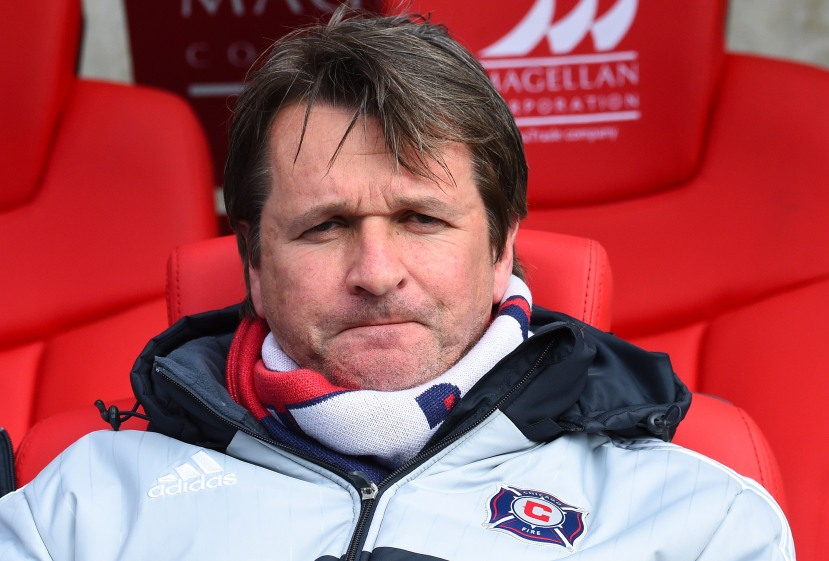 Mar 29, 2015; Chicago, IL, USA; Chicago Fire coach Frank Yallop during the first half at Toyota Park. Mandatory Credit: Mike DiNovo-USA TODAY Sports