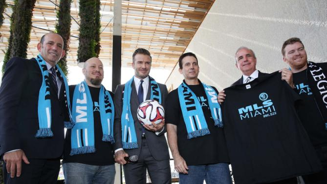 MIAMI, FL - FEBRUARY 05: Commissioner Don Garber, David Beckham and Mayor Carlos Gimenez attends a press conference to announce their plans to launch a new Major League Soccer franchise at PAMM Art Museum on February 5, 2014 in Miami, Florida. Aaron Davidson/Getty Images/AFP