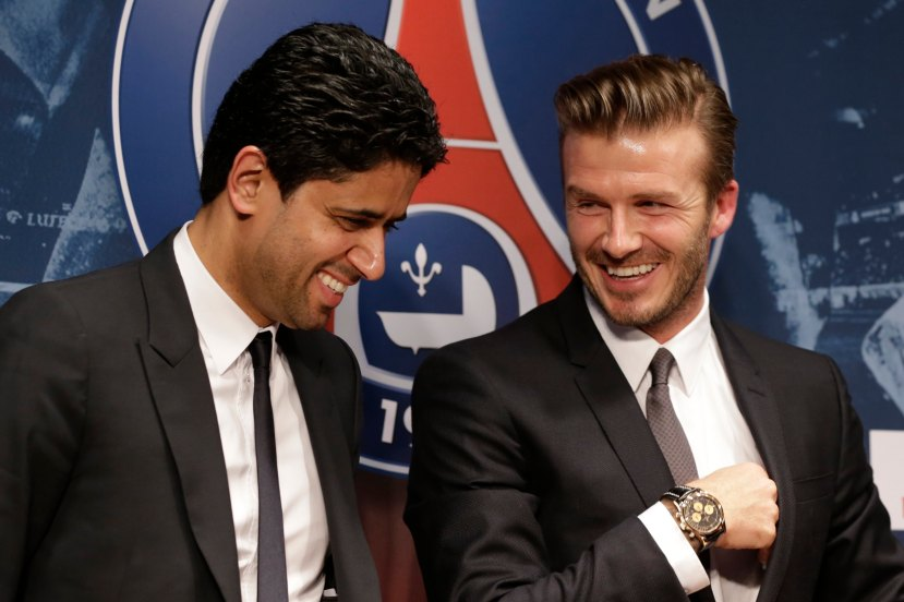 Soccer player Beckham attends a news conference in Paris