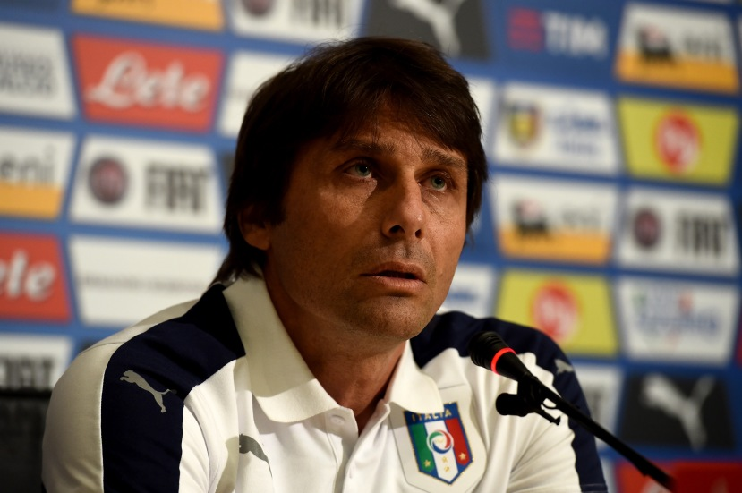 """FLORENCE, ITALY - MAY 18: Italian national team head coach Antonio Conte speaks to the media during a press conference at the club's training ground at Coverciano on May 18, 2016 in Florence, Italy. (Photo by Claudio Villa/Getty Images)"""